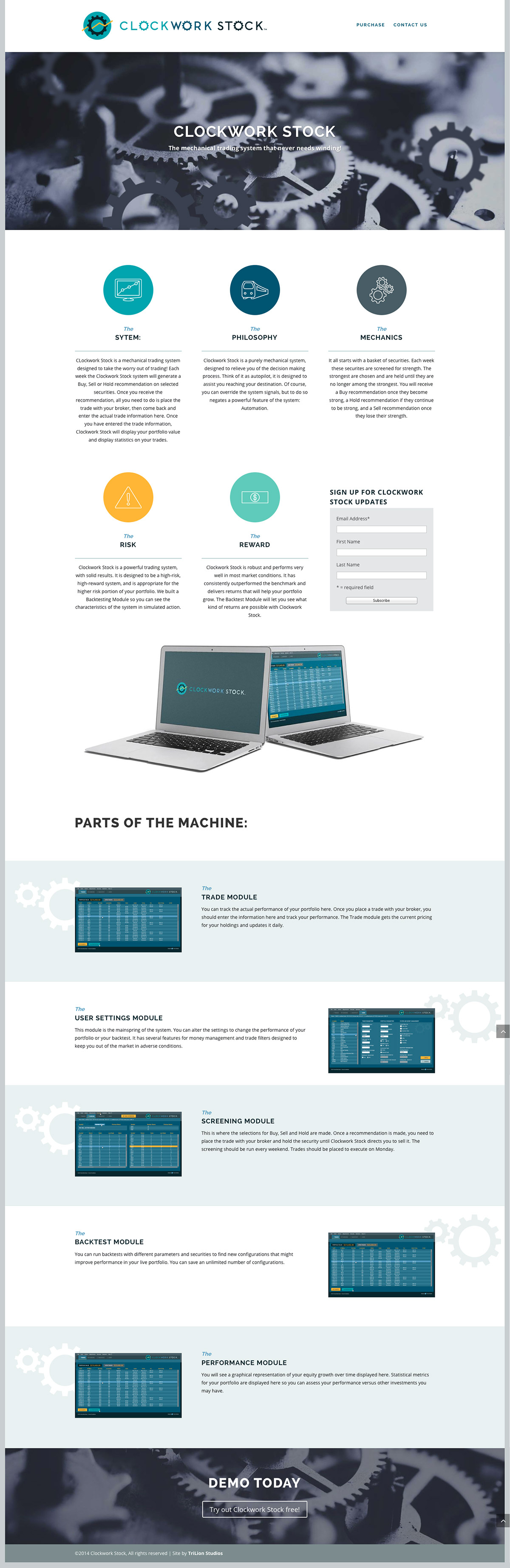 Clockwork Homepage Layout with parralax and responsive stacking